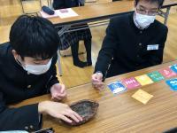 カカオの実の殻に触れる男子生徒